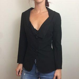 FENDI Black Linen Flat Collar Deep Cut Blazer